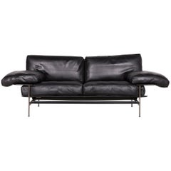 B&B Italia Diesis Designer Sofa Leather Black Three-Seat Couch Modern