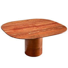 B&B Italia Dining Table in Leather and Travertine