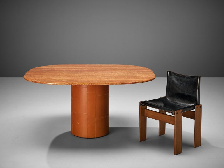 Italian B&B Italia Dining Table in Marble and Leather and Scarpa 'Monk' Dining Chairs For Sale