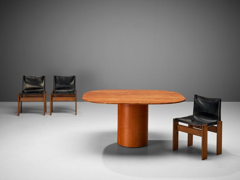 Late 20th Century B&B Italia Dining Table in Marble and Leather and Scarpa 'Monk' Dining Chairs For Sale
