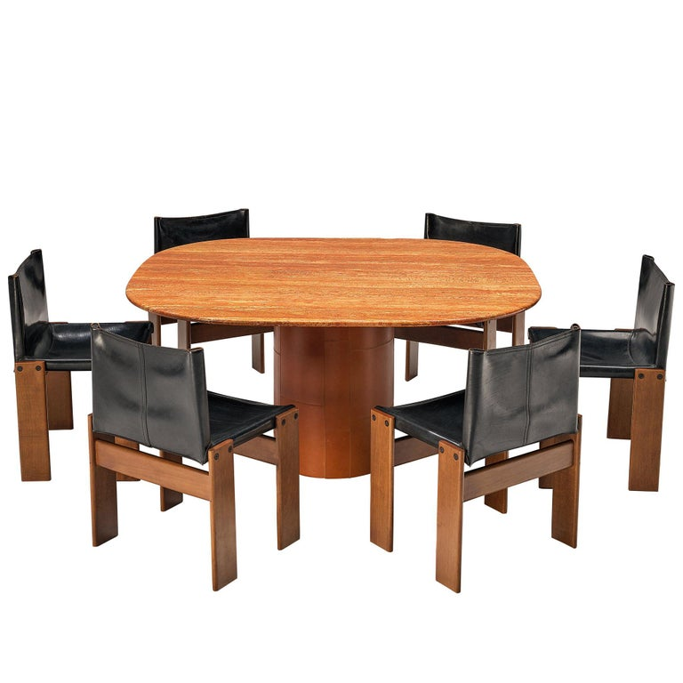 B&B Italia Dining Table in Marble and Leather and Scarpa 'Monk' Dining Chairs For Sale