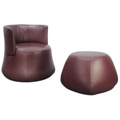"B&B Italia ""Fat Sofa"" Armchair and Pouf in Aubergine Purple ""Gamma"" Leather"