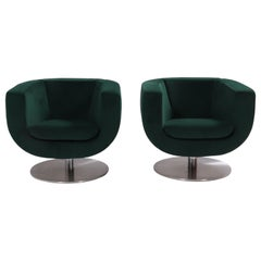 B&B Italia Green Tulip Armchairs by Jeffrey Bernett, Set of 2