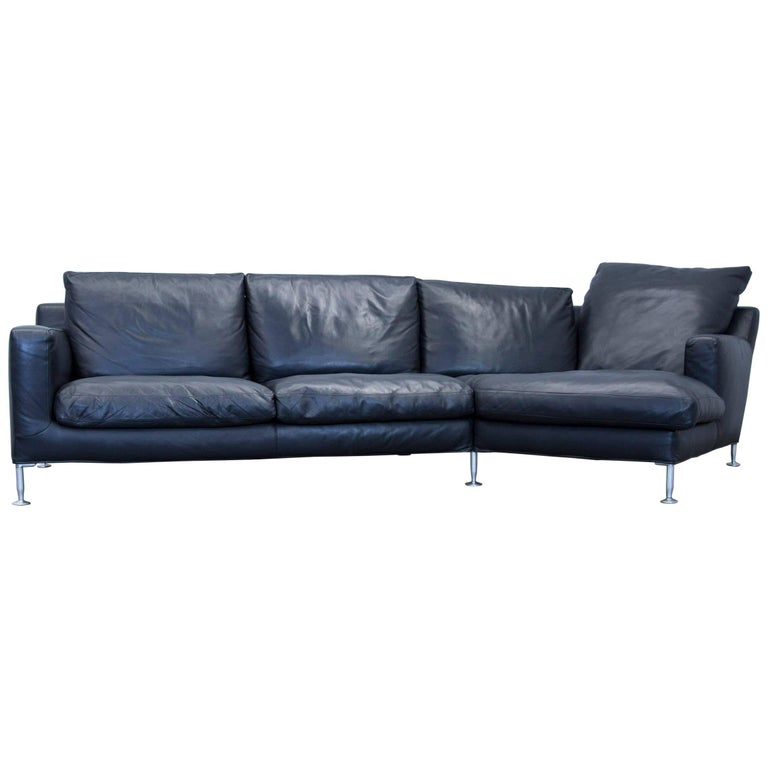 B&B Italia Harry Designer Corner Sofa Leather Black Couch Modern