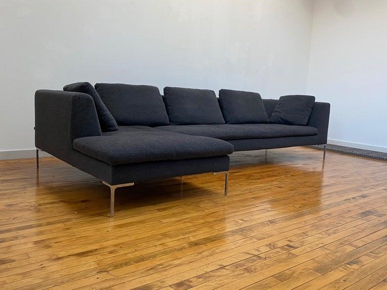 Contemporary B&B Italia L- Shape Charles Sofa in Dark Gray Tweed Designed by Antonio Citterio For Sale