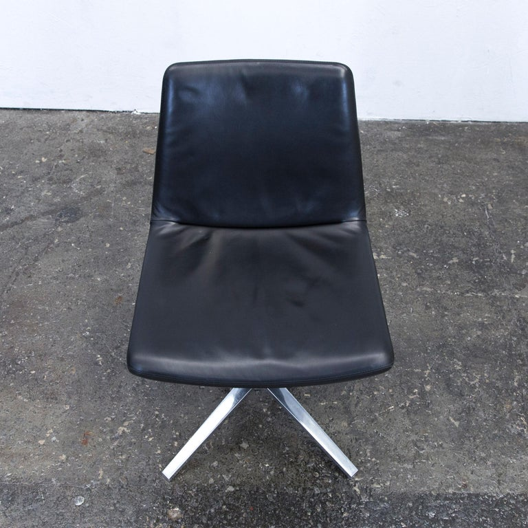 Contemporary B&B Italia Leather Chair Set Black Modern Bistro Swiss Air Lounge Zurich Chrome