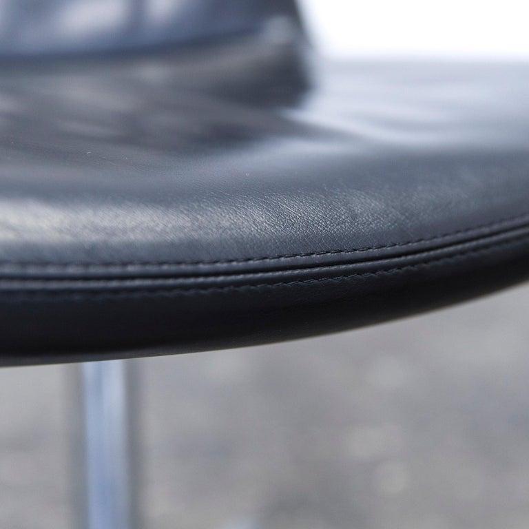 B&B Italia Leather Chair Set Black Modern Bistro Swiss Air Lounge Zurich Chrome 1