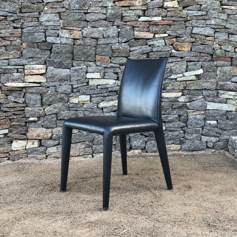 B&B Italia Mario Bellini Thick Black Leather Modern Vol Au Vent Dining Chairs, 4 In Good Condition For Sale In National City, CA