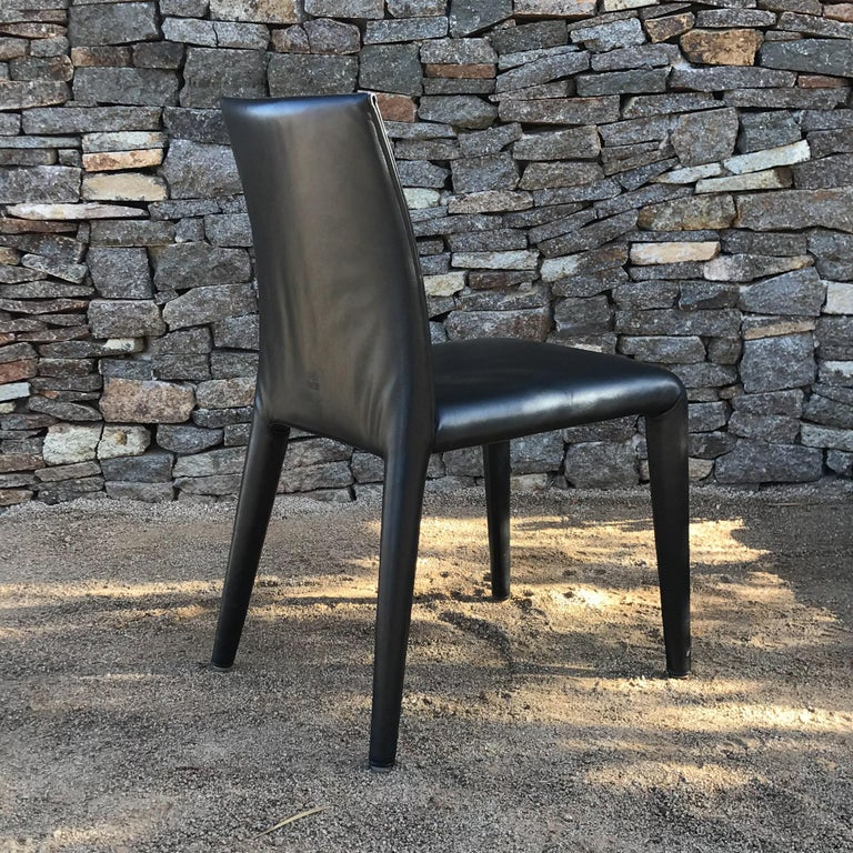 Steel B&B Italia Mario Bellini Thick Black Leather Modern Vol Au Vent Dining Chairs, 4 For Sale
