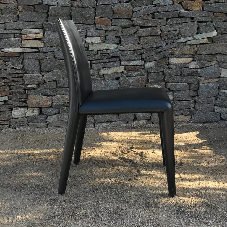 B&B Italia Mario Bellini Thick Black Leather Modern Vol Au Vent Dining Chairs, 4 For Sale 1
