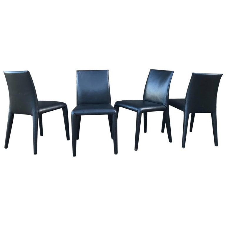 B&B Italia Mario Bellini Thick Black Leather Modern Vol Au Vent Dining Chairs, 4 For Sale
