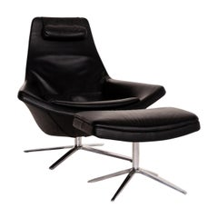 B&B Italia Metropolitan Leather Armchair Black Incl, Stool