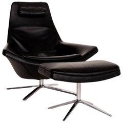 B&B Italia Metropolitan Leather Armchair Incl. Stool Black