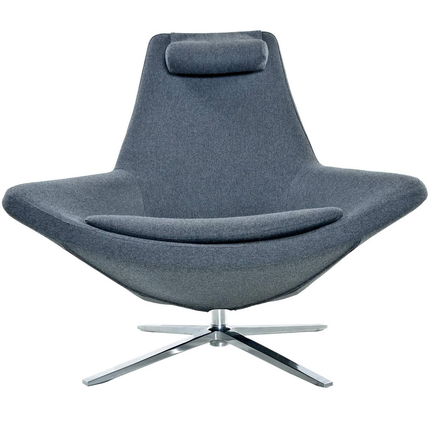 Amazing Bu0026B Italia Metropolitan Swivel Chrome Base Modern Grey Lounge Chair For Sale