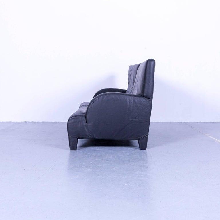 B&B Italia Oriente Designer Leather Sofa Set Three-Seater + Foot-Stool 5