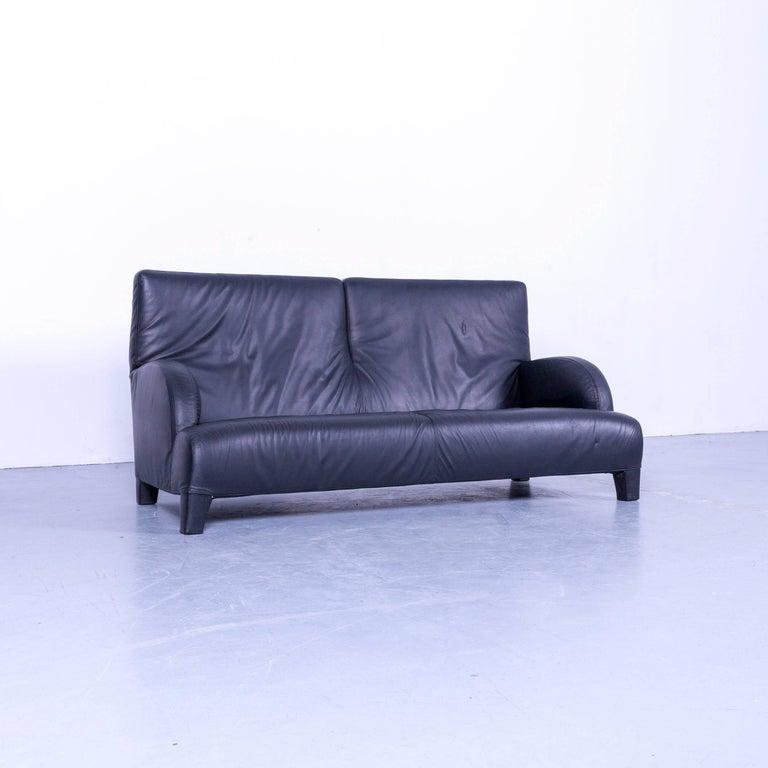 Italian B&B Italia Oriente Designer Leather Sofa Set Three-Seater + Foot-Stool