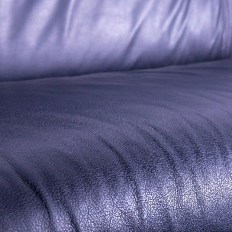 B&B Italia Oriente Designer Leather Sofa Set Three-Seater + Foot-Stool In Fair Condition In Cologne, DE