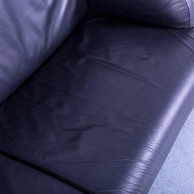 Contemporary B&B Italia Oriente Designer Leather Sofa Set Three-Seater + Foot-Stool