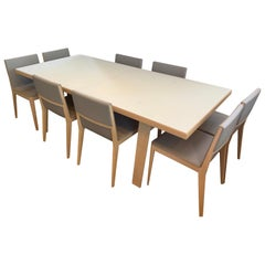 B&B Italia Signed Hans Extendable Dining Room Table and Eight EL Chairs Set