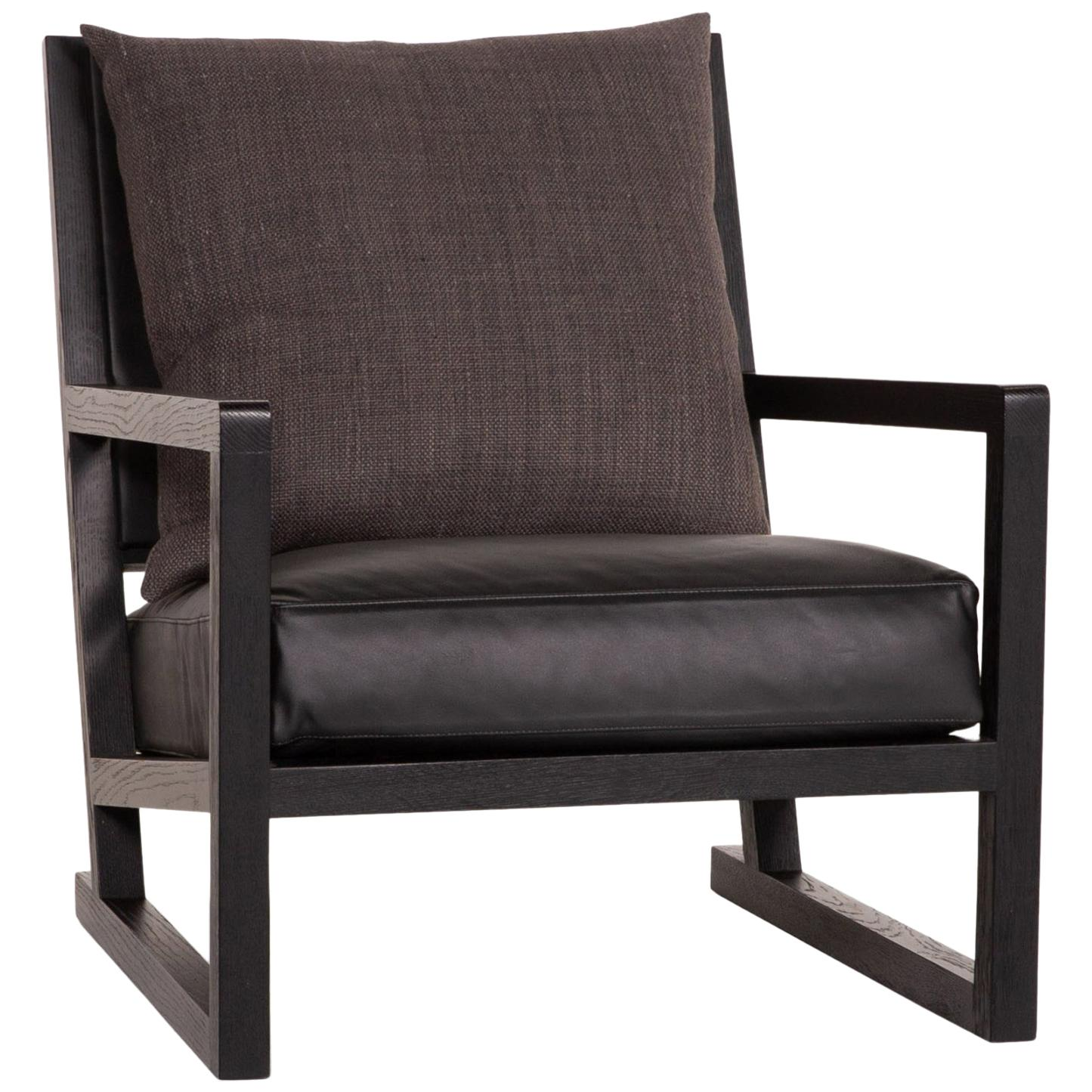B&B Italia Simplice Leather Fabric Armchair Black