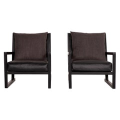 B&B Italia Simplice Leather Fabric Armchair Set Black 2x Chair