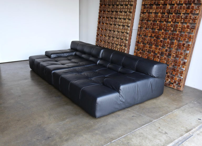B&B Italia tufty time black leather sofa by Patricia Urquiola.