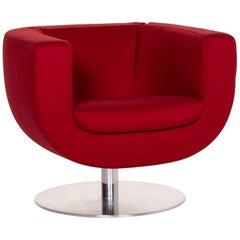 B&B Italia Tulip Fabric Armchair Red 360 Degrees Rotatable Jeffrey Bernett