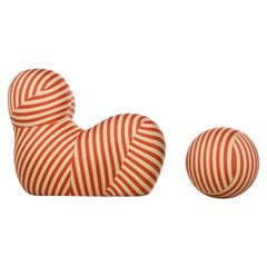 B&B Italia UP 2000 Series Lounge Chair and Ottoman, Special Edition Striped