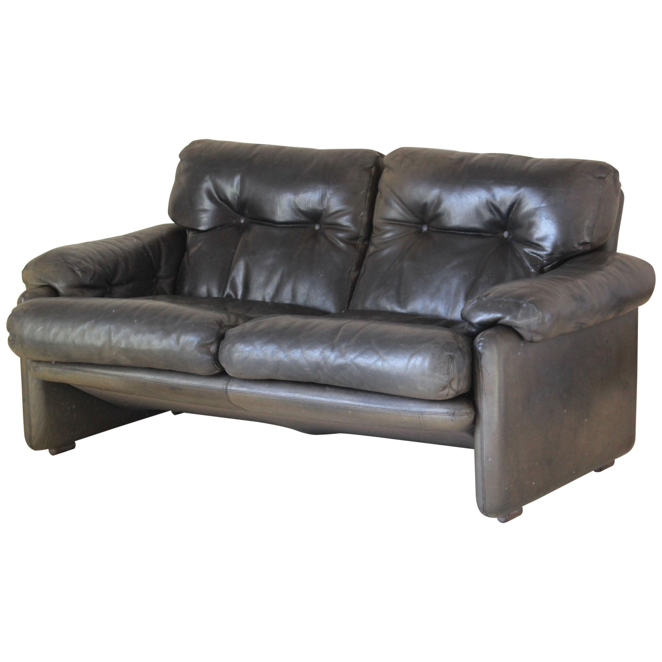 Vintage leather Sofa by B&B Italia by Afra & Tobia Scarpa designers