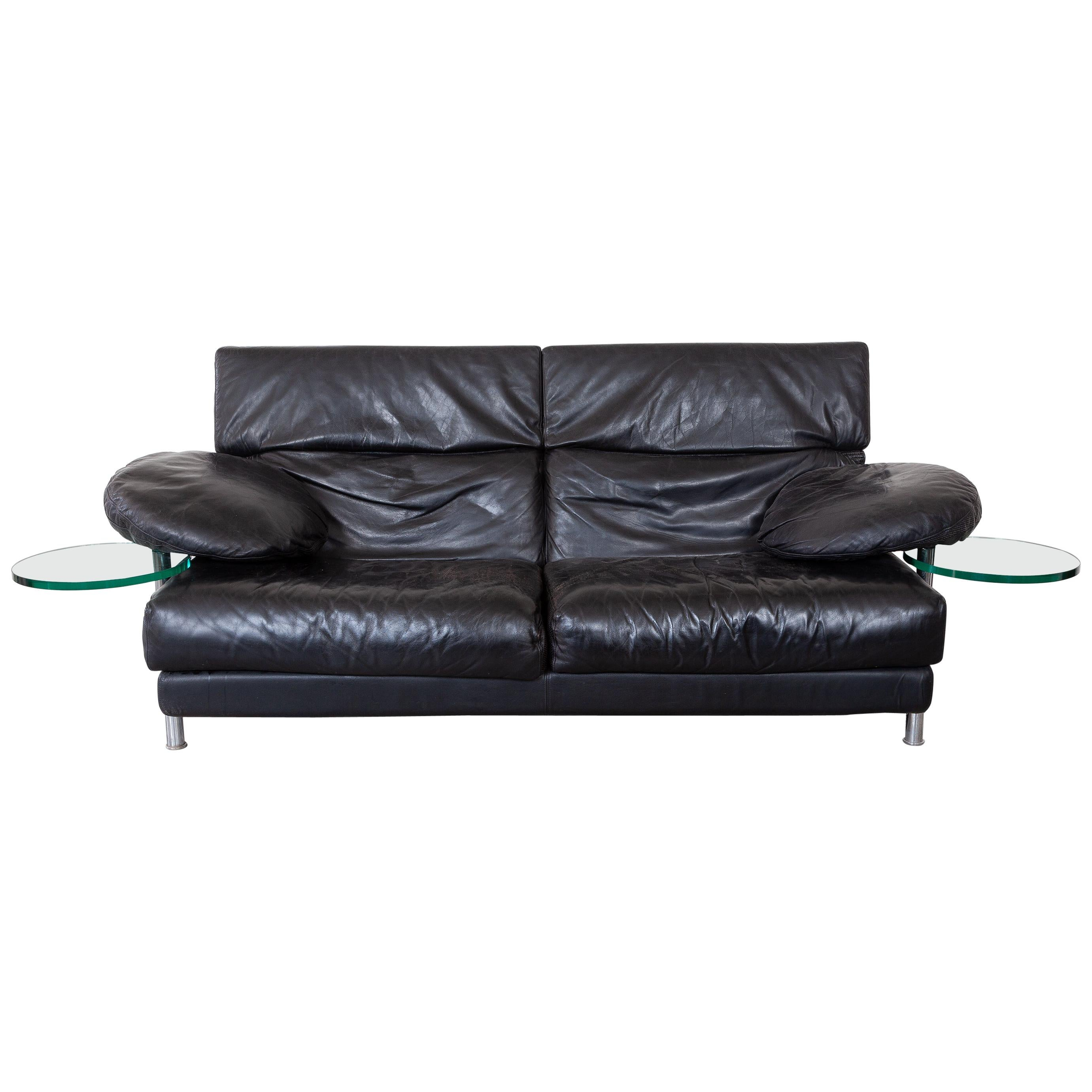 """B&B Italy Black Leather 1980s Sofa Designed by Paolo Piva """"Model ARCA"""""""