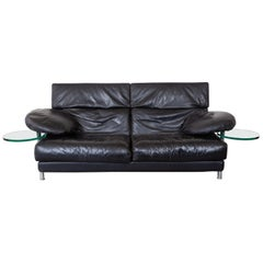 "B&B Italy Black Leather 1980s Sofa Designed by Paolo Piva ""Model ARCA"""