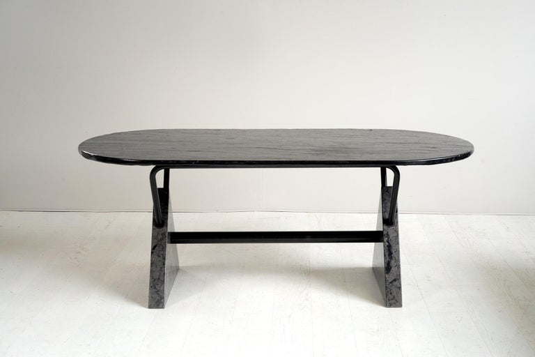 Bbb Bonacina Rare Theo Table In Marble And Slate Italy
