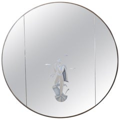 BBPR Architects' Studio, Round Serigraphed Mirror, Made in Italy, circa 1960