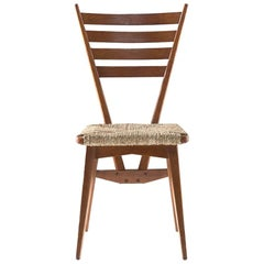 BBPR Five Chairs Wood and Wooven Straw, Italian Design, 1950s