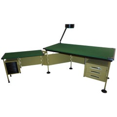 BBPR for Olivetti 1960 Green Modernist Desk with Black Accents and Side Bureau