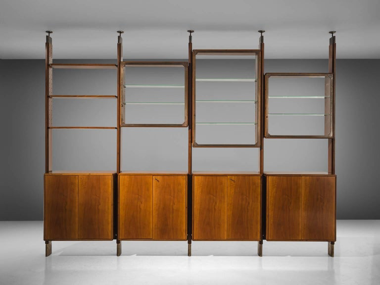 Mid-Century Modern BBPR Fully Restored Room Divider in Walnut and Brass For Sale