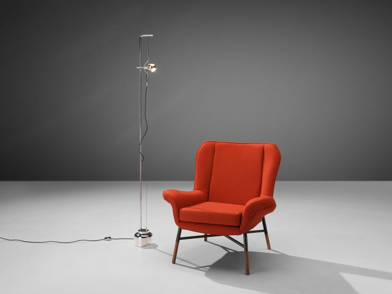 Angelo Lelii for Arredoluce, 'Filosfera' floor lamp, chromium-plated metal, metal wire, painted metal, Italy, 1970s   Angelo Lelii designed the 'Filosfera' floor lamp for Arredoluce in the 1970s. On a round chrome base rests a thin chrome stem.