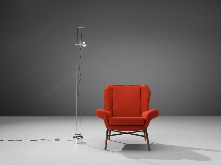 Italian BBPR 'Giulietta' Lounge Chair and Angelo Lelii 'Filosfera' Floor Lamp For Sale