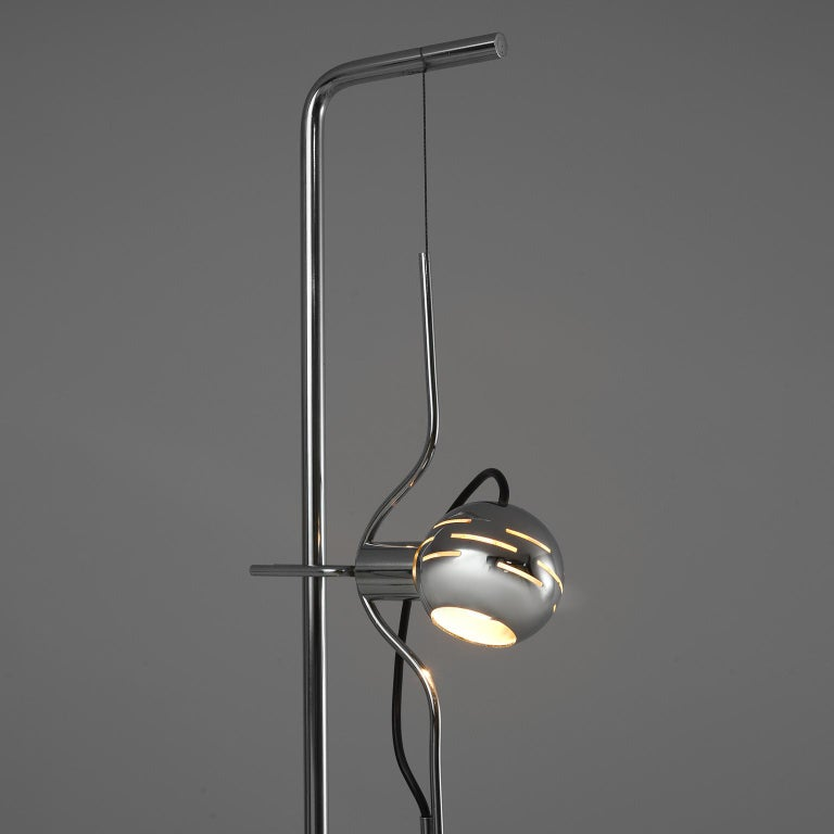 Metal BBPR 'Giulietta' Lounge Chair and Angelo Lelii 'Filosfera' Floor Lamp For Sale