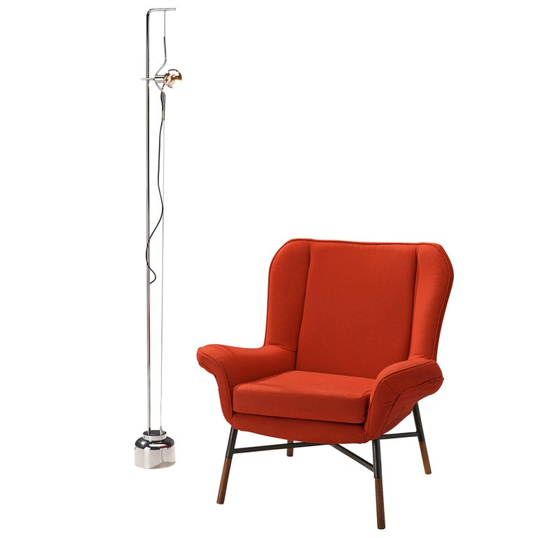 BBPR 'Giulietta' Lounge Chair and Angelo Lelii 'Filosfera' Floor Lamp For Sale