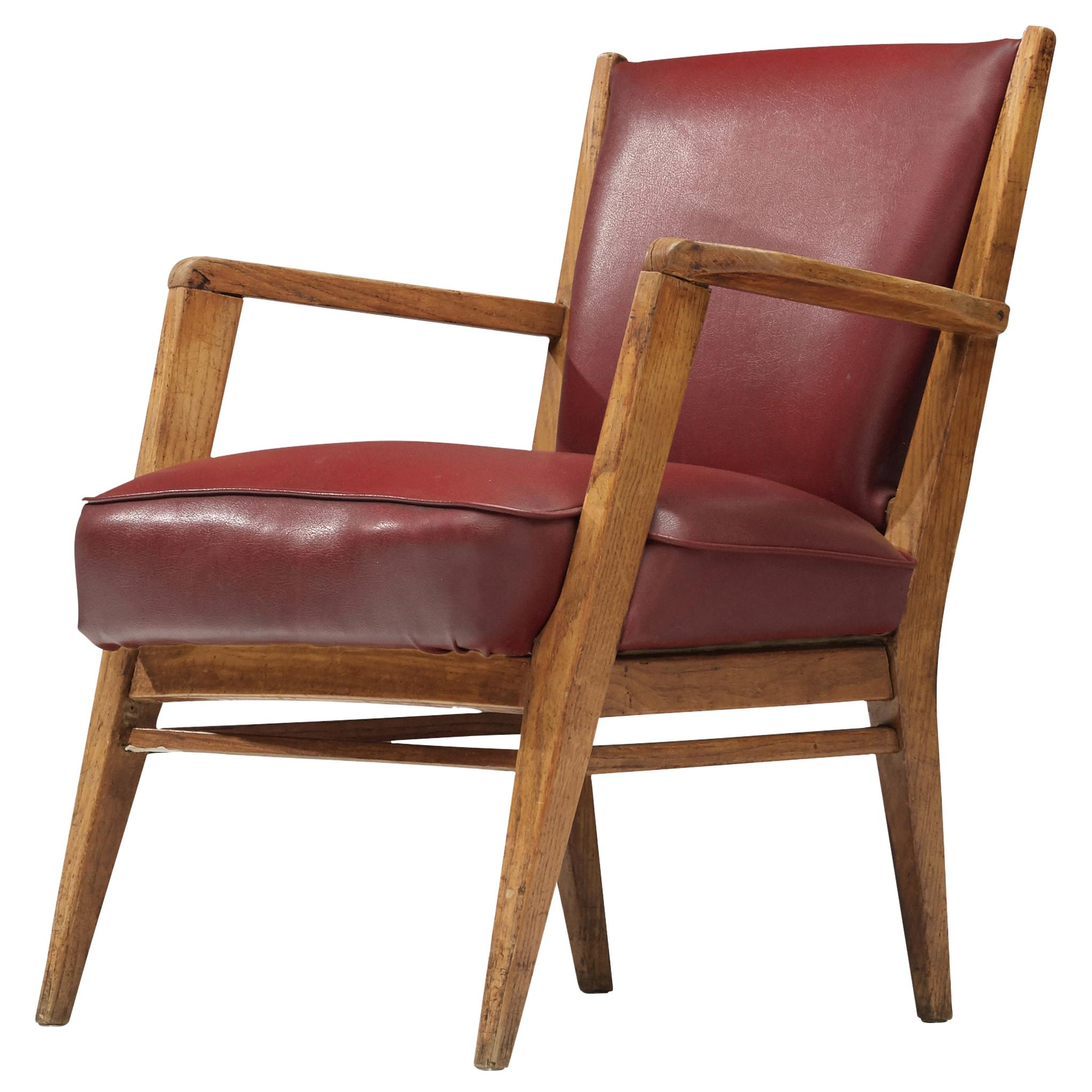 BBPR Lounge Chair in Burgundy Leatherette