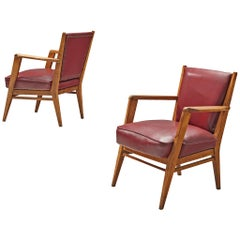 BBPR Pair of Lounge Chairs in Burgundy Leatherette