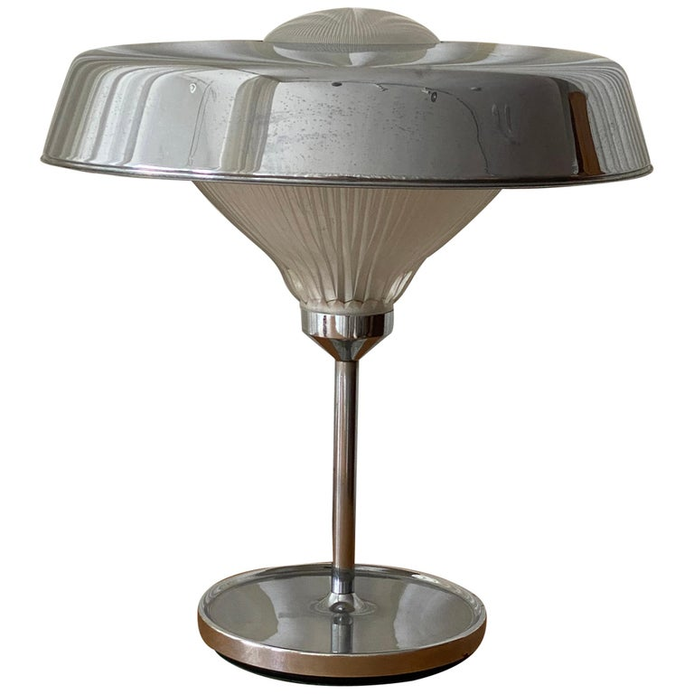 """Bbpr, """"Ro"""" Table Lamp, Chrome-Plated Metal, Glass, Artemide, Italy, 1970 For Sale"""