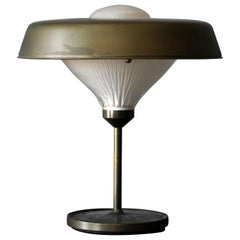 "Bbpr, ""Ro"" Table Lamp, Patinated metal, Glass, Artemide, Italy, 1970"