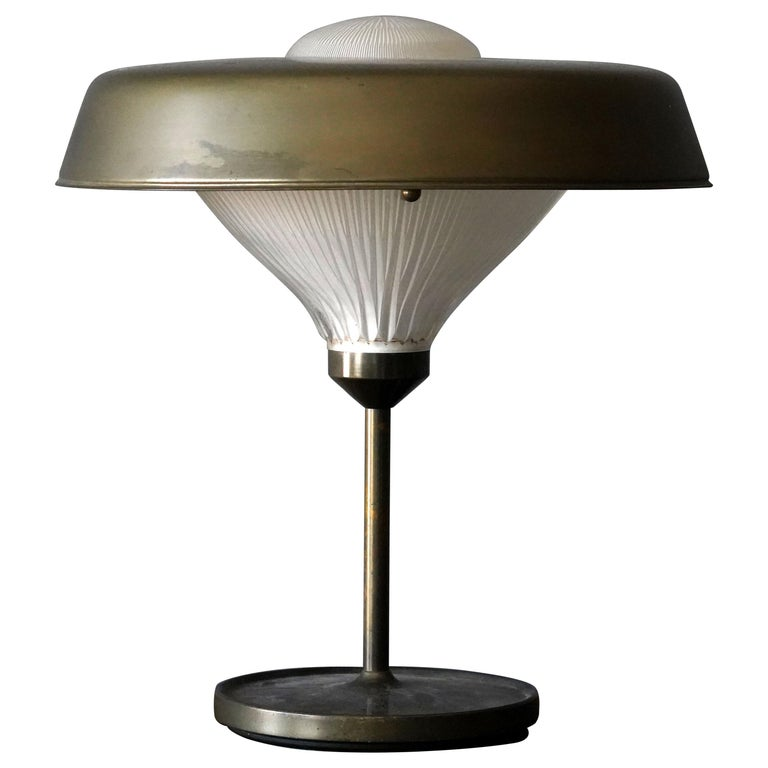 "Bbpr, ""Ro"" Table Lamp, Patinated metal, Glass, Artemide, Italy, 1970 For Sale"