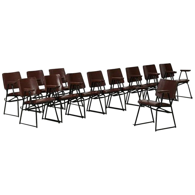 B.B.P.R. Studio Style 12 Chairs Mid-Century Modern Curved Wood Steel For Sale