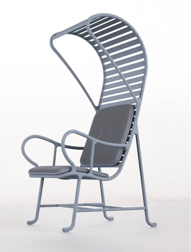 BD Barcelona Gardenia Outdoor Armchair with Pergola in Green, White or Grey For Sale 3