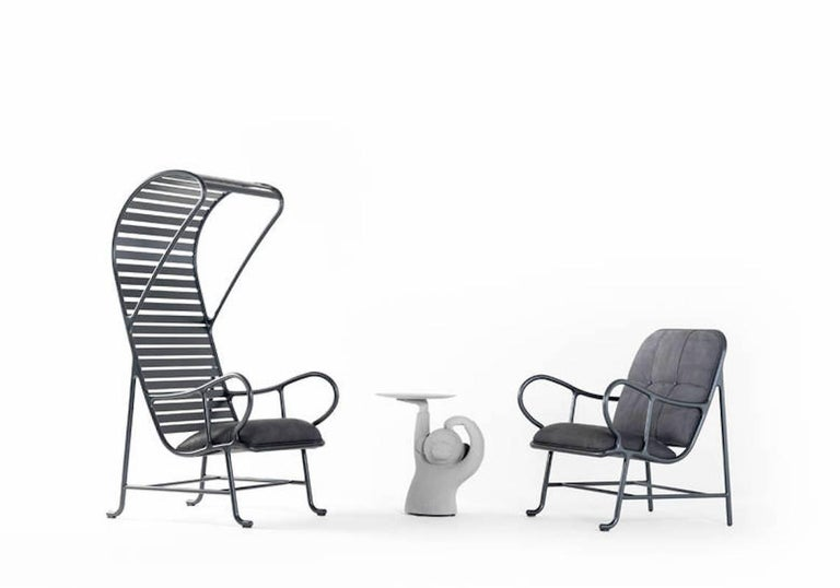 BD Barcelona Gardenia Outdoor Armchair with Pergola in Green, White or Grey For Sale 5