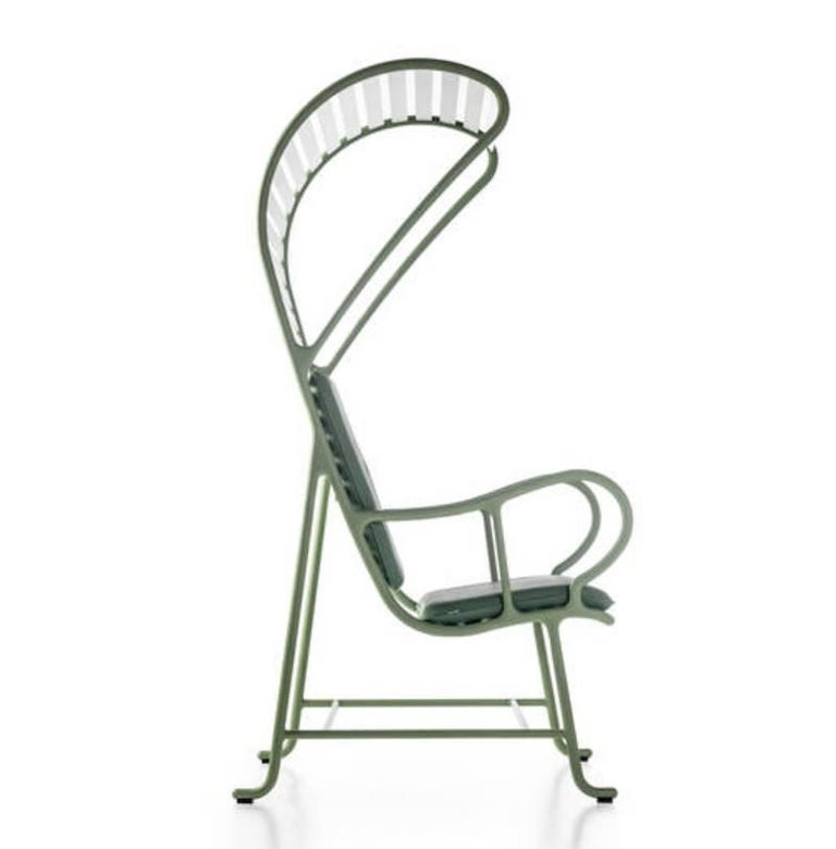 Modern BD Barcelona Gardenia Outdoor Armchair with Pergola in Green, White or Grey For Sale
