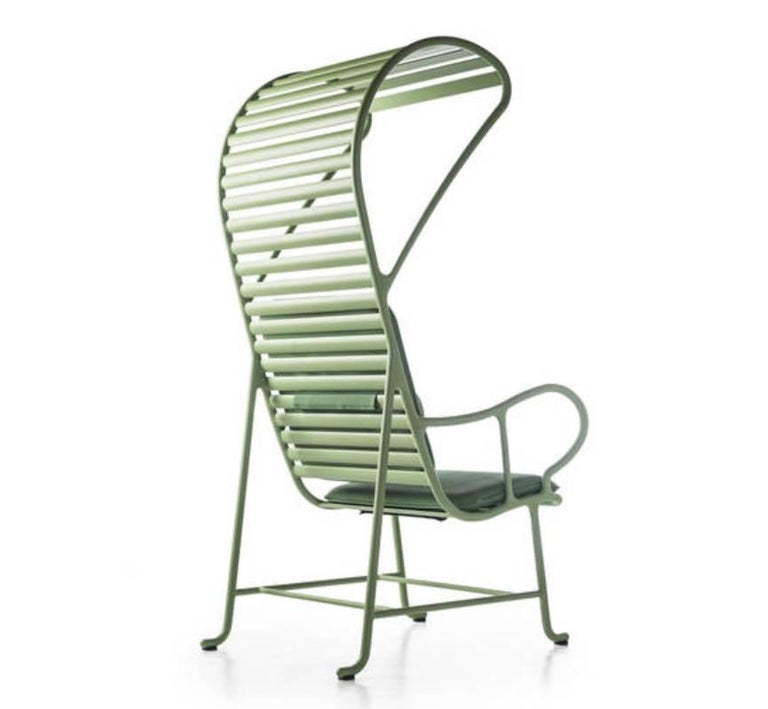 Spanish BD Barcelona Gardenia Outdoor Armchair with Pergola in Green, White or Grey For Sale